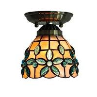 Baroque Retro Tiffany Flower Stained Glass Ceiling Light E26 E27 Morden Shell Flush Mount Lamp Kitchen