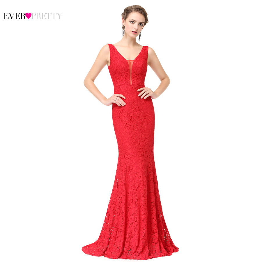 Lace Mermaid Prom Dresses Long 2018 Ever Pretty EP08838 Fashion Small Train Sexy Trumpet V-Neck Elegant Prom Dresses Party Gowns 1