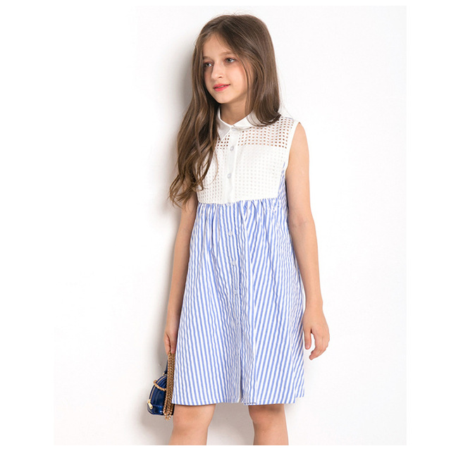4e1c29c222fd62 Summer Dresses for Girls 11 years 10 12 14 Teenage Girl Clothing Sleeveless  Striped Dress girl clothes summer 2018