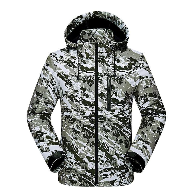 Camouflage Veste Imperméable Tactique Soft Shell Veste D'hiver Hommes Coupe-Vent Polaire Randonnée Vestes Hommes Manteau Vêtements de Chasse