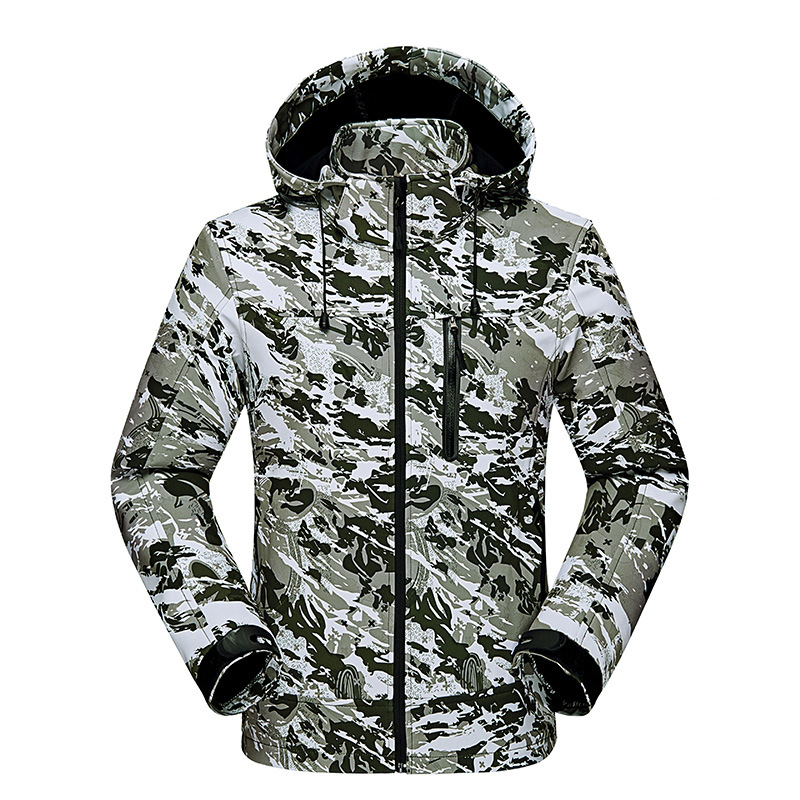 Camouflage Waterproof Jacket Tactical Soft Shell Winter Jacket Men Windbreaker Fleece Hiking Jackets Mens Coat Hunting Clothes