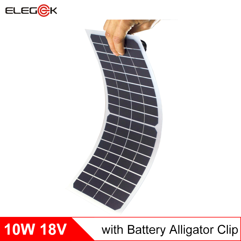 ELEGEEK 10W 18V Semi flexible Solar Panel Charger 18V Transparent Solar panel with DC Output Crocodile