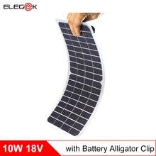 Elegeek 10 Вт 18 В полугибкий Панели солнечные Зарядное устройство 18 В прозрачный Панели солнечные с DC Выход крокодил для 12 В Батарея