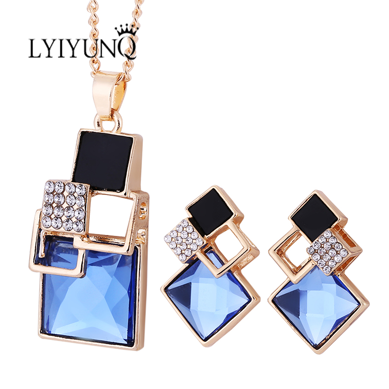 2018 Fashion Brand Persegi Geometri Set Perhiasan Pandent Kalung Stud Earrings Kristal Sihir Ruang Perhiasan Set Untuk Wanita