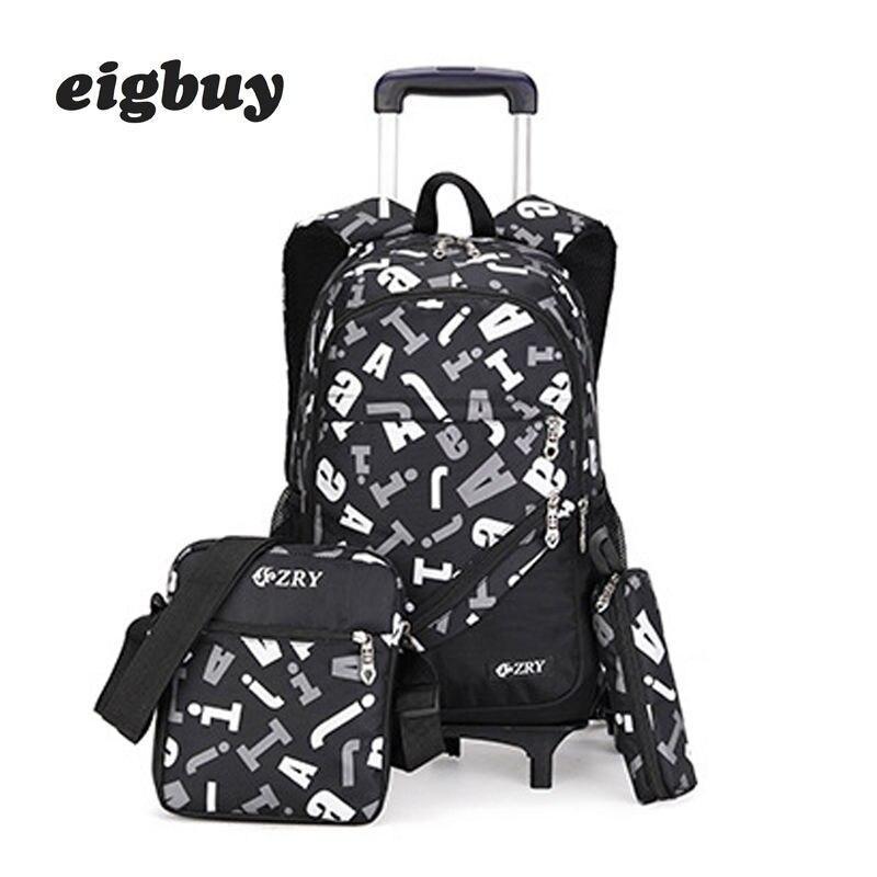 Enfants garçons filles Trolley cartable bagages livre sacs pour sac à dos dernier amovible enfants sacs d'école 2/6 roues 3 pièces costume