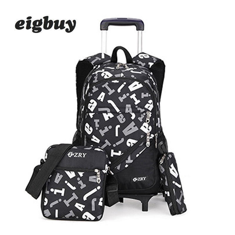 Kids Boys Girls Trolley Schoolbag Luggage Book Bags For Backpack Latest Removable Children School Bags 2/6 Wheels 3pcs Suit
