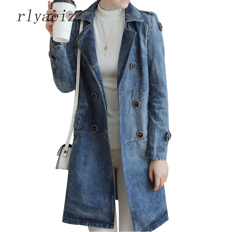 Rlyaeiz Denim   Basic     Jacket   Women Coat 2018 Spring Autumn   Jackets   Women Middle-long Jeans   Jackets   Female New Casacos Feminino