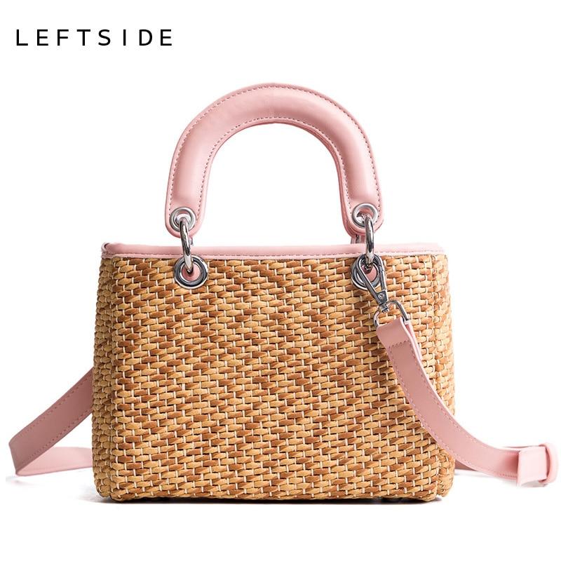 LEFTSIDE Straw Handbags Summer 2018 Women Small Handbag Ladies Shoulder Bag Rattan Bags Beach Crossbody Totes Bag For Travel