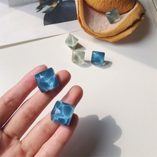 S925 silver needle earrings Minimalist retro marine irregular Jelly color blue wave green hot sale