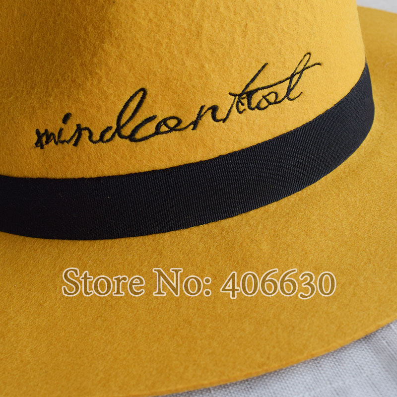 6a59f2932 Winter Yellow Women Wide Brim Wool Felt Fedora Hats With Letters C...