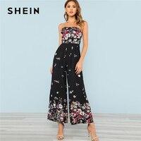 SHEIN Shirred Back Strapless Culotte Jumpsuit Women Floral Print Sleeveless High Waist Wide Leg Jumpsuit 2018