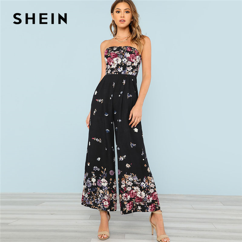 SHEIN Shirred Back Strapless Culotte Jumpsuit Women Floral Print Sleeveless High Waist Wide Leg Jumpsuit 2018 Vacation Jumpsuit black strapless high waisted jumpsuit