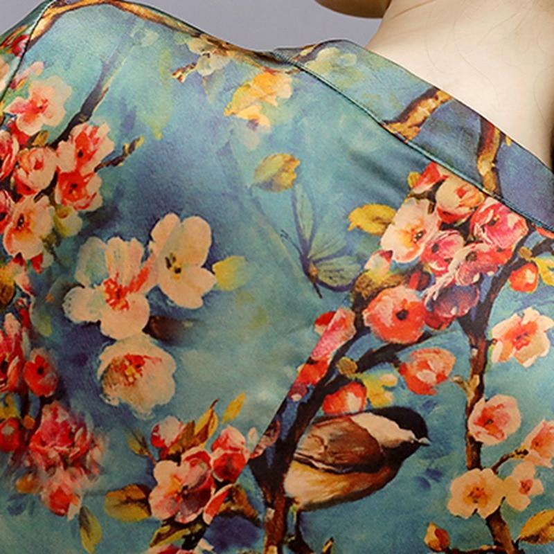 Mferlier Faux Silk Dress Women O Neck Vintage Dresses Plus Size Women Autumn Dress Floral Robe