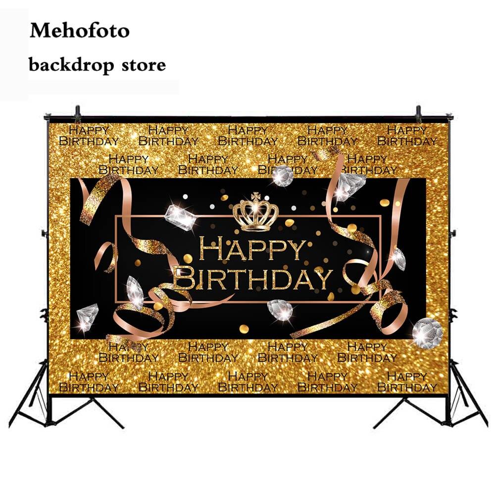 MEHOFOTO Happy Birthday Gold Crown Royal Photo Background