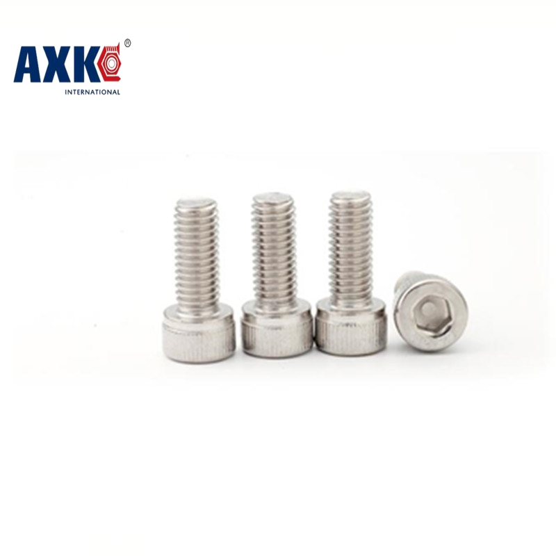 AXK Metric Thread DIN912 M4 Stainless Steel Hex Socket Head Cap Screw Bolts M4*4/5/6/8/10/12/14/16/18/20/22/25/30/35/40/45/50 50pcs iso7380 m3 5 6 8 10 12 14 16 18 20 25 3mm stainless steel hexagon socket button head screw