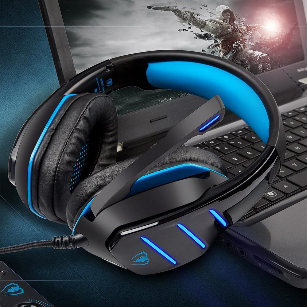 GM-3 Stereo Gaming Headset for Xbox one PS4 PC Surround Sound Over-Ear Headphones with Mic Noise Cancelling LED Lights Headset
