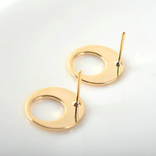 10pcs Oval 17.5x13mm 24k Gold Color Brass Round Stud Earrings High Quality Diy Accessories Jewelry Findings