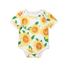 Newborn Infant Baby Girl Bodysuit Baby 2019 New Short Sleeve Sunflower Babygrow Vest Summer Children Clothes Home Outfit(China)