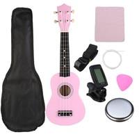 21 Pink Soprano Basswood Ukulele Uke Hawaii Bass Guitar Guitarra Musical Instruments Set Kits Tuner Strings