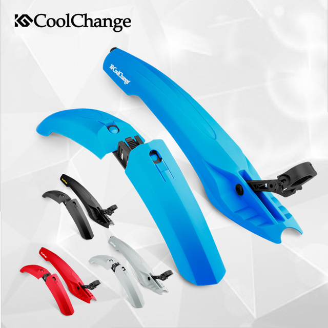 CoolChange Flectional Bike MTB Front Rear LED Mudguard Set 26 Bicycle Fender Plastic Quick Release With Led Light Cycling Fender