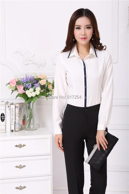 New elegante Femininos 2015 outono inverno Plus Size profissional trabalho de escritório de negócios ternos desgaste Pant e blusas terninhos