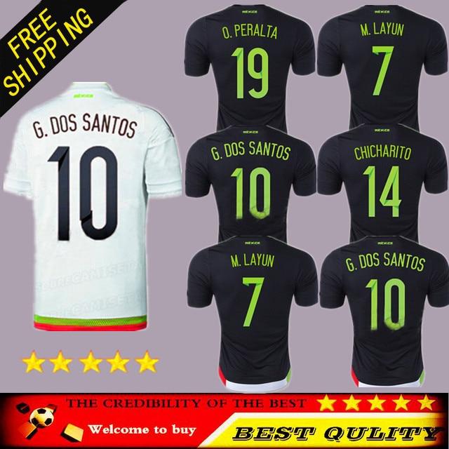 28e505d24d4 Top AAA Mexico Jersey 2015 Soccer Black White Home Away 2016 National Team  Mexico Camisetas Futbol Football Shirt CHICHARITO