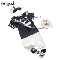 2016 New Arrival Baby Boys Sailor Style Romper Hat Blue Cotton New Born Baby Clothes Infant