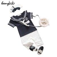2 PC Zestawy Letnie Boys Baby Sailor Romper + Czapka New Born Baby Cloth Niemowląt Kombinezon dla Letnie Maluch Newborn kostium Navy Ogólnie