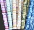 5 Metros de Rolo Auto adesivo mosaico papel de parede peel & vara óleo/à prova d' água PVC telha de vinil papel de parede para cozinha janela do banheiro/parede