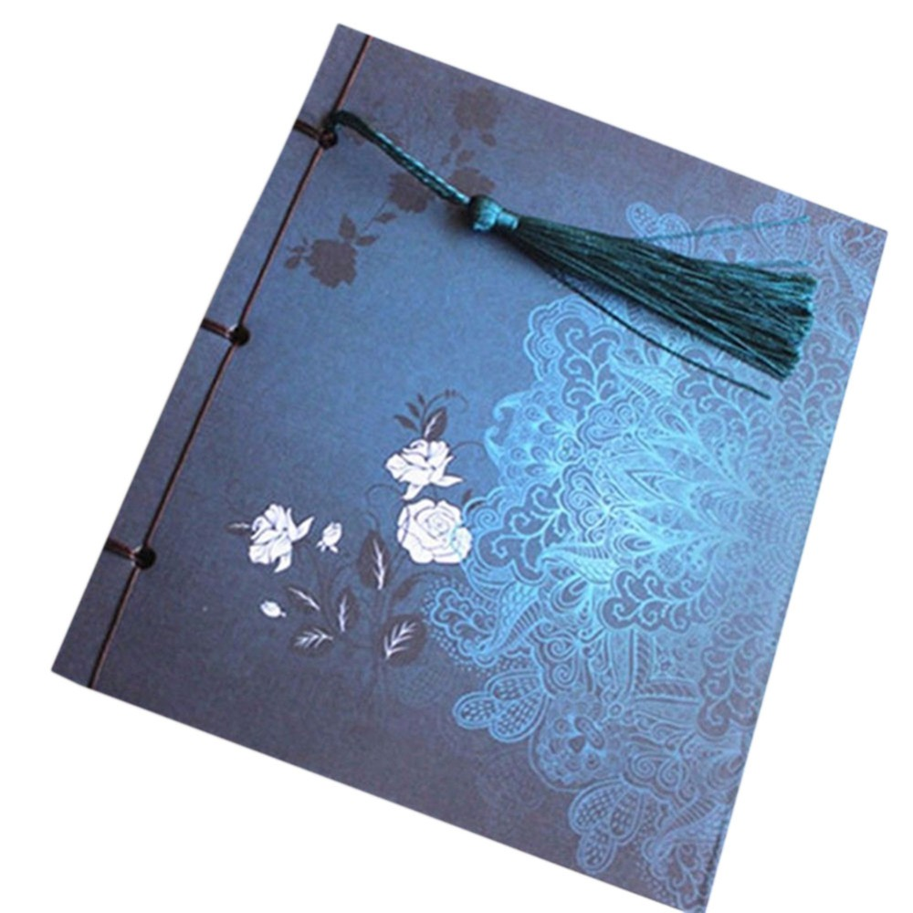 Chinese Style Blue Rose Color Diary Note Book Tassel Stationery Retro Flower Sketchbook Journal Blank Notebook Chinoiserie Art
