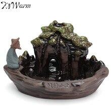 KiWarm 1pc Ceramic Art Backflow Incense Burner China Guilin Miniatures Landscape Figurines Censer Home Office Furnace Decor Gift