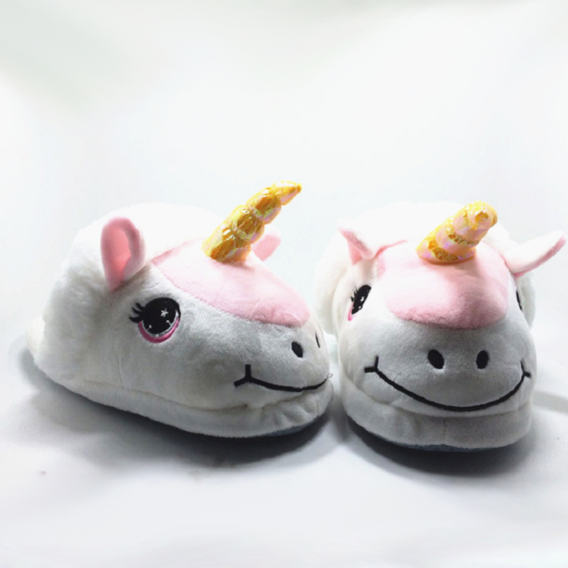 bdb2028abd9 New Unicorn Slippers Kids Winter Warm Plush Boy Girls Slippers ...