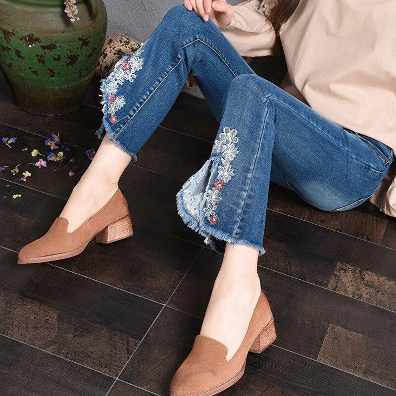 Primavera Femme Azul Slim Nueva Jeans Tobillo Pantalones Longitud Pantalon 1 2019 Vaqueros Mujer Moda Bordado xEwSdACAq