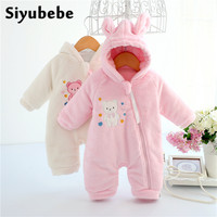 Autumn Winter Baby Rompers Rabbit Style Thicken Baby Coral Fleece Brand Hoodies Jumpsuit Baby Girls Boys