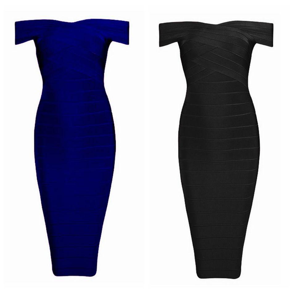 2018 New Summer Bandage Dress Women Celebrity Short Sleeve Off ...