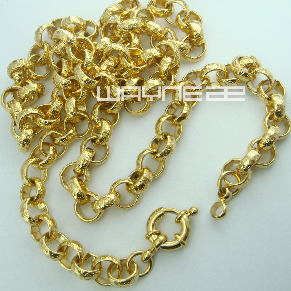 18k gold Filled belcher bolt ring Link mens womens solid chain necklace jewllery N220