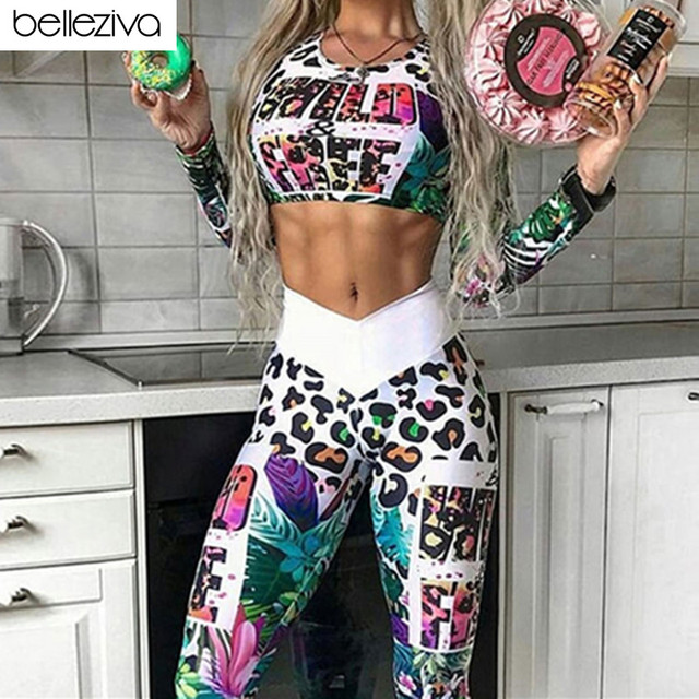 46f78f35a633ca Belleziva Long Sleeve Top Yoga Leggings Workout Clothes Gym Clothing Yoga  Set Fitness Sport Suits Women Tracksuit Gym Sportswear
