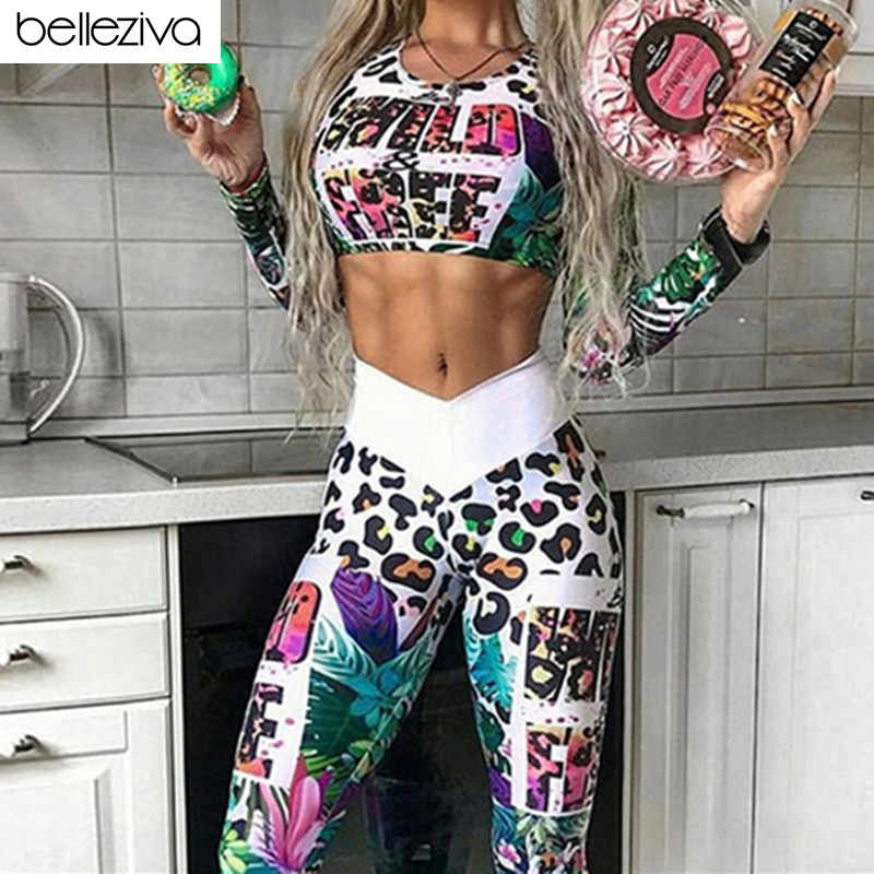 Belleziva Long Sleeve Top Yoga Leggings Workout Clothes Gym Clothing Yoga Set Fitness Sport Suits Women Tracksuit Gym Sportswear