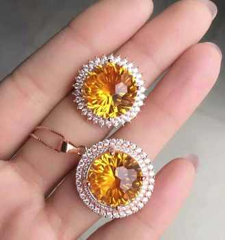 KJJEAXCMY Fine jewelry 925 Inlaid Citrine female ring necklace set in Sterling Silver - DISCOUNT ITEM  6% OFF All Category