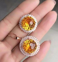 KJJEAXCMY Fine jewelry 925 Inlaid Citrine female ring necklace set in Sterling Silver