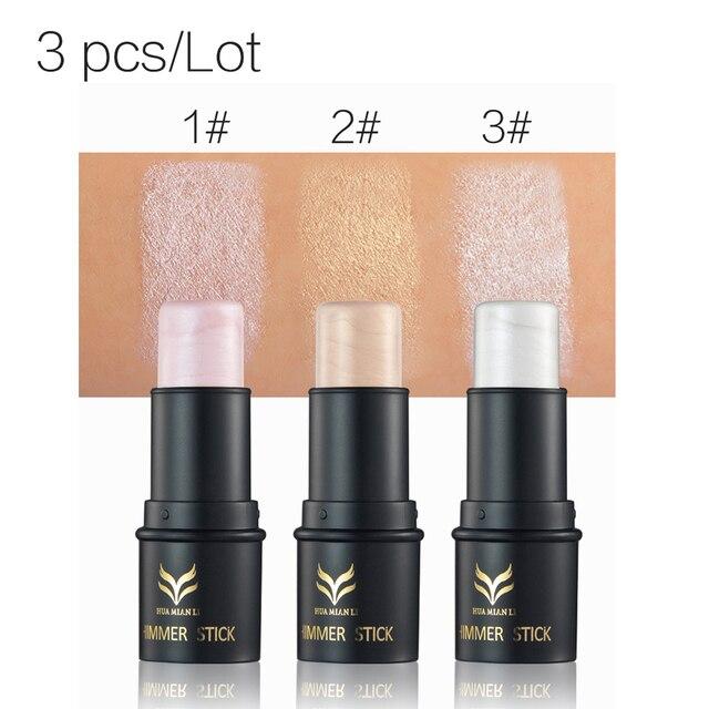 3 шт./компл. huamianli Макияж Маркер бронзатор для 3D V лицо Shimmer Придерживайтесь контур макияж тональный крем Glow комплект HM003