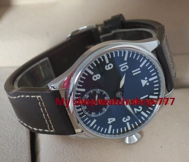 44mm PARNIS pilot super large blue luminous black dial 6498 Mechanical Hand Wind movement mens watch Mechanical watches