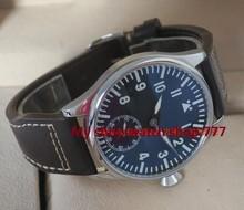 44mm PARNIS piloto super gran azul luminoso dial negro 6498 movimiento Mecánico de la Mano del Viento del reloj de los hombres relojes Mecánicos