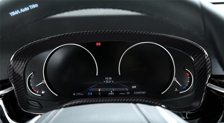 Garniture de couverture d'anneau d'instrument de tableau de bord de couleur de Fiber de carbone de style automatique de Lapetus 1 pièces pour BMW série 5 G30 530I 2017 2018 2019 ABS