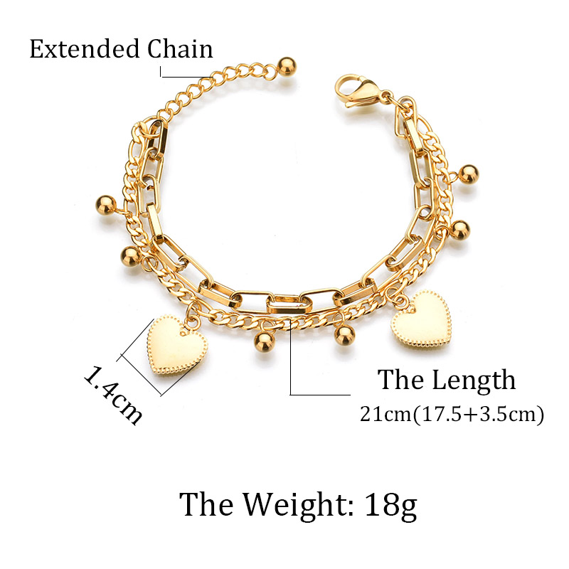 Trendy-Personality-Jewelry-Multilayer-Extension-Chain-Bead-Heart-Gold-Color-Bead-Stainless-Steel-Bracelets-For-Women (1)