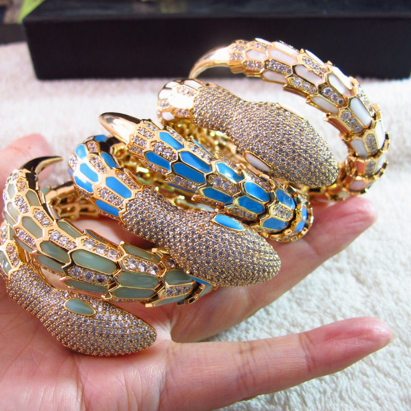 New pulseras cubic zirconia STONE animal cuff gold color bracelets bangles enamel Party jewelry for women