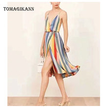 2019 Summer Sexy V-Neck Print Striped Spaghetti Strap Rainbow Sleeveless Knee-Length Women Dresses Vestidos Female Sun Dress