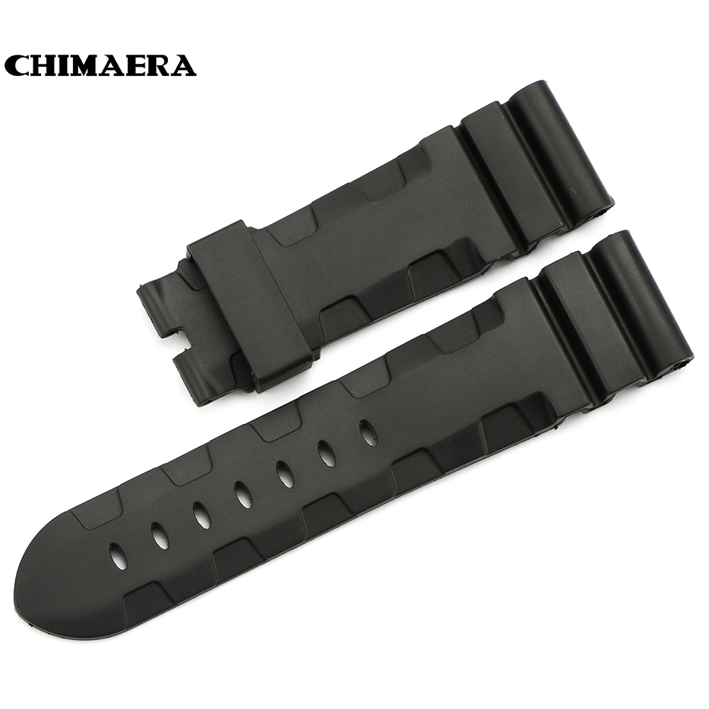 CHIMAERA  High quality 24mm Black  Watch Strap Watchband Rubber Watch Band Strap Bracelet Wrist Watch Band For Hours for Panerai silicone rubber watchband double side wearing strap for armani ar watch band wrist bracelet black blue red 21mm 22mm 23mm 24mm