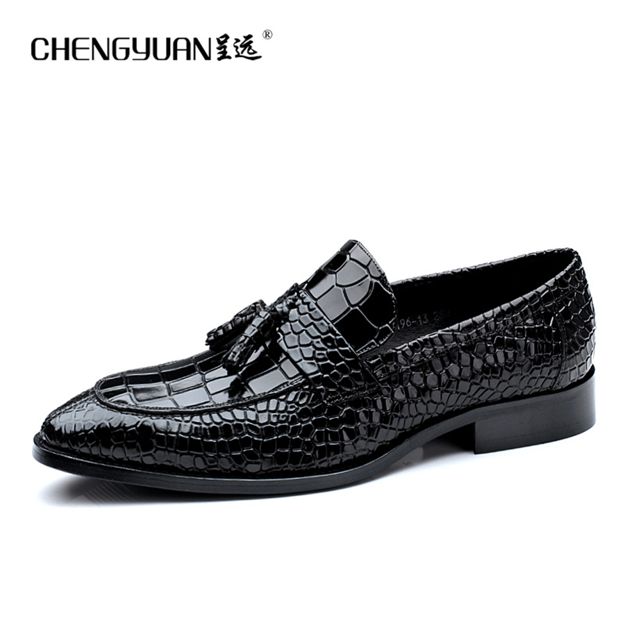 Men tassle genuine leather flats shoes mens luxury brand  black business casual British party gentleman wedding shoes CHENGYUAN luxury brand men s business dress shoes genuine leather oxford shoes black brown classic gentleman shoes fashion flats sapato 2a