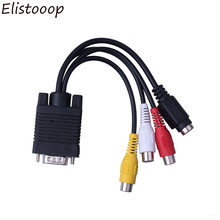 Elistooop VGA Laki-laki ke S-video 3 RCA Jack Perempuan Komposit AV TV Out Adapter Converter Video Kabel untuk Monitor Komputer TV(China)